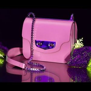 Auth BALENCIAGA Calf Leather Baby Pink Mini Square Crossbody Bag